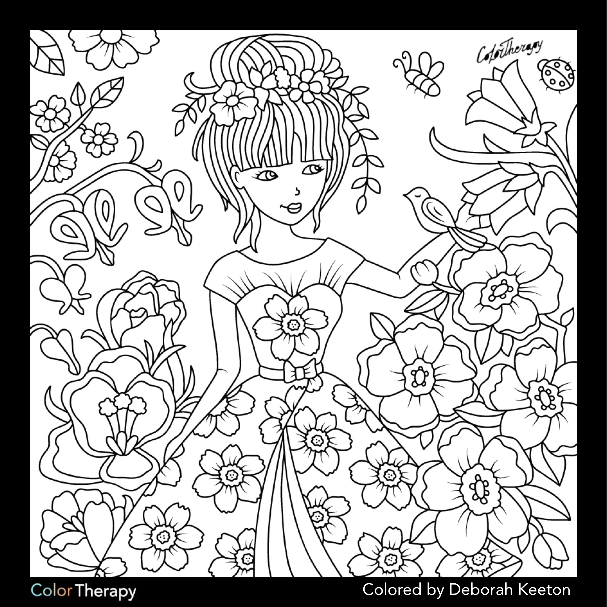 2000x2000 Printable Girl In Floral Garden Color Therapy App Free Coloring