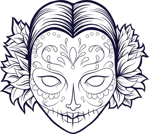 500x451 Sugar Skull Coloring Pages Pdf Free