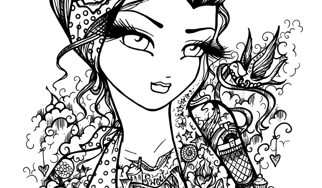 1024x600 Beautiful Tattoo Coloring Pages Advance