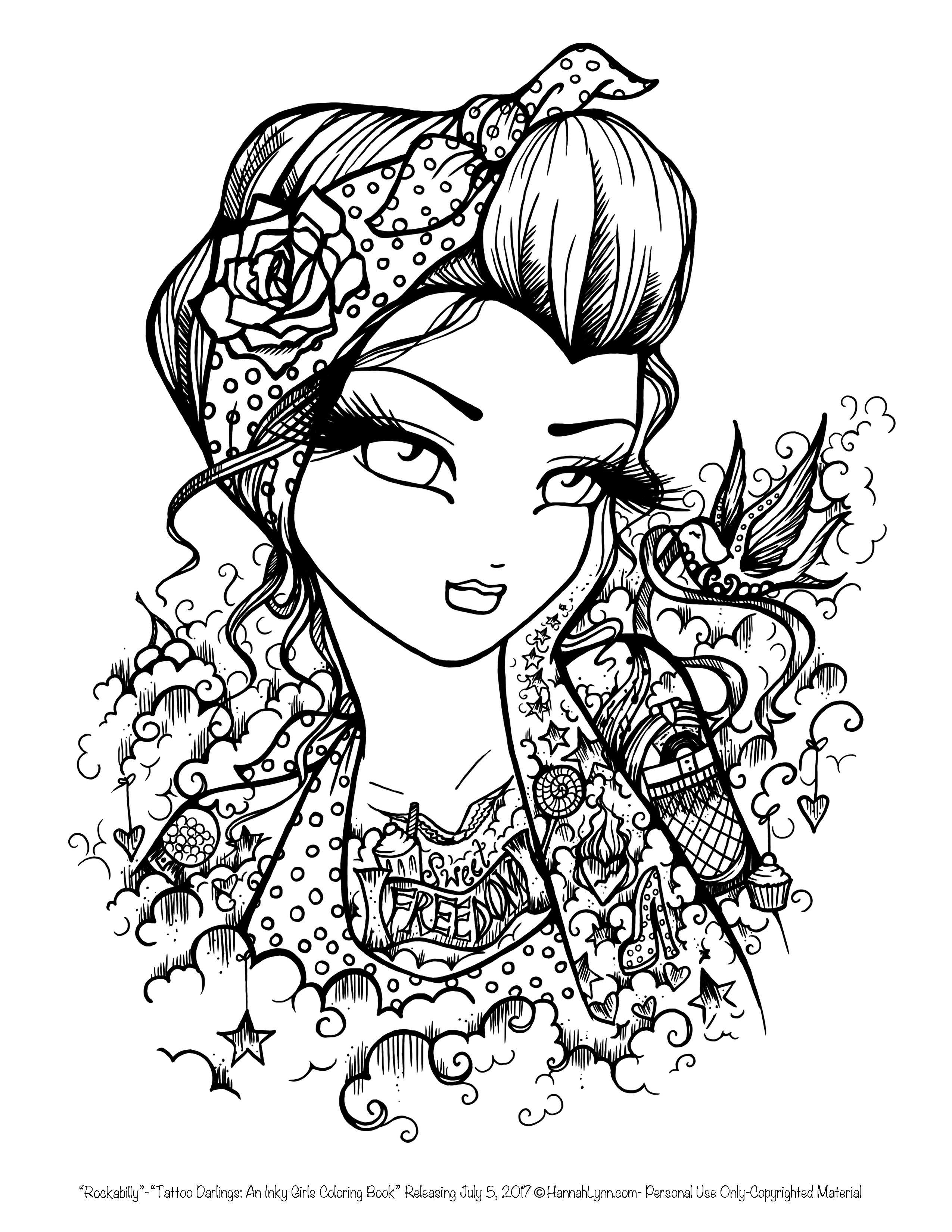 2550x3300 Best Of Tattoo Darlings Free Sample Coloring Page Rockabilly Girl