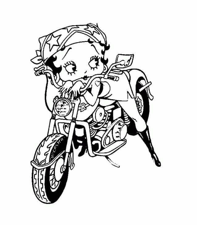 638x730 Betty Boop Posing On An Old Motorcycle Coloring Page Adult
