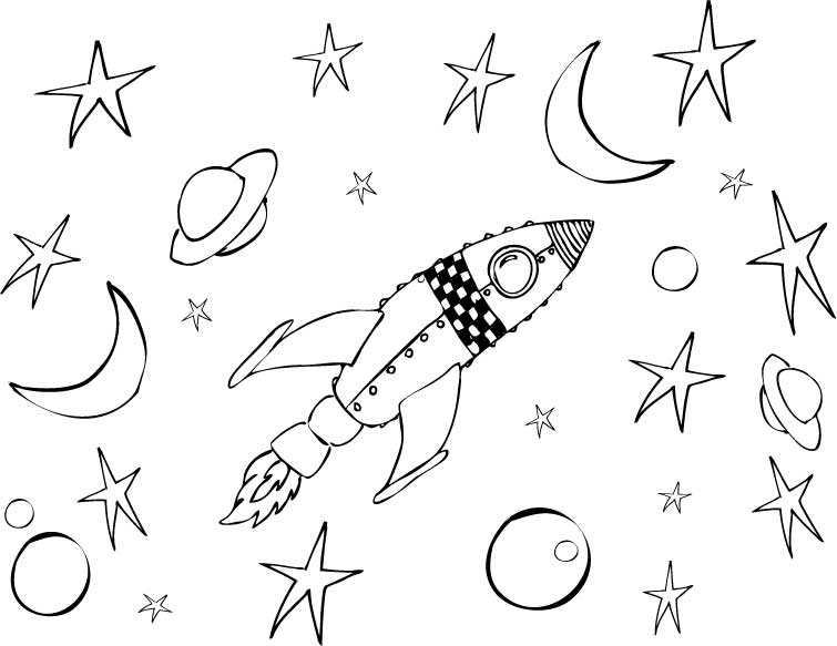 755x583 Rocket Coloring Pages