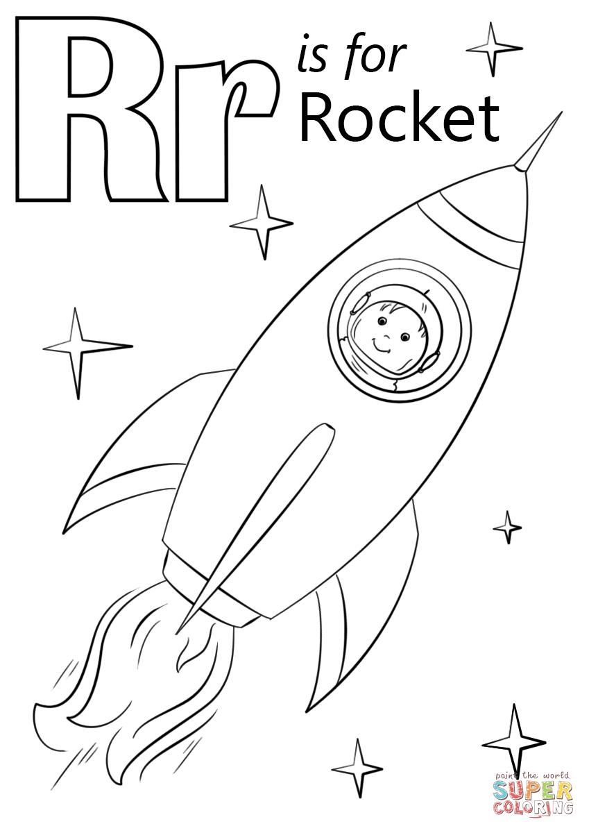 849x1200 Rocket Coloring Page