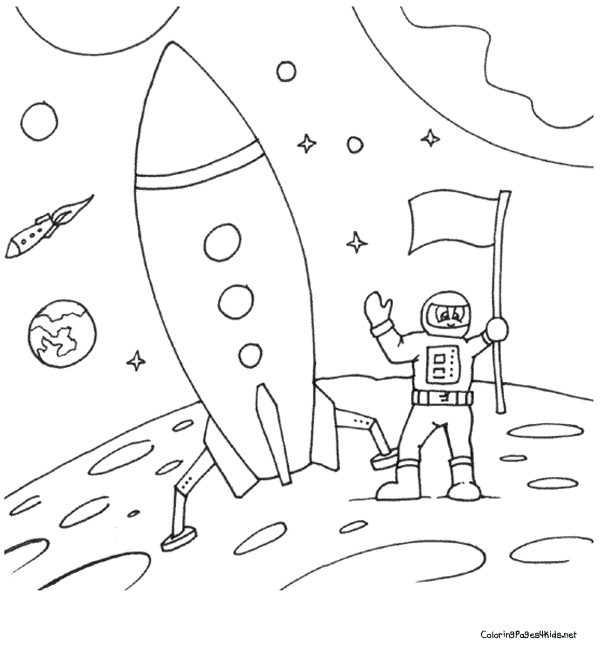 600x654 Rocket Ship Coloring Pages
