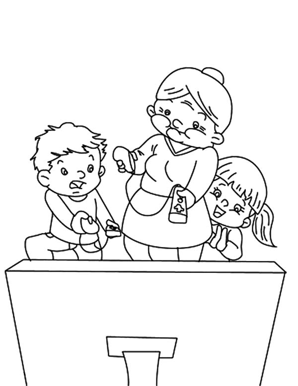 600x775 Grandmother Sitting On Rocking Chair Coloring Pages Grandmother