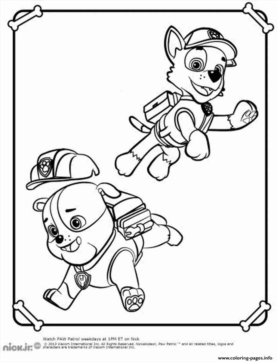 921x1200 Paw Patrol Rubble Playing With Rocky Coloring Pages Printable