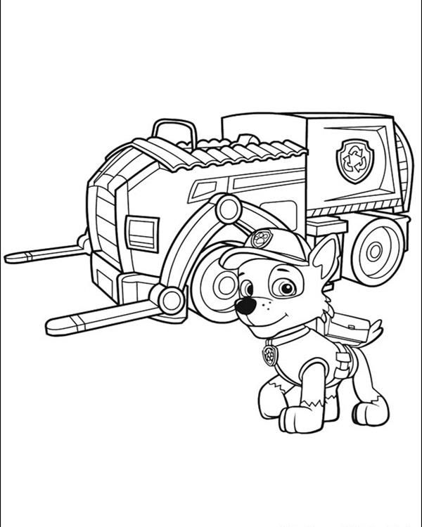 600x750 Rocky Paw Patrol Coloring Page Rocky And His Recycling Truck Paw