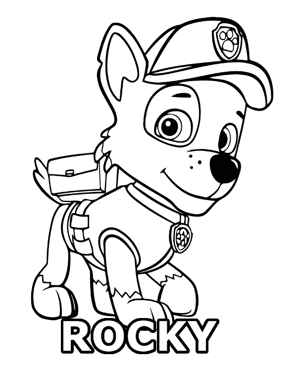 600x740 Rocky Coloring Pages Paw Patrol