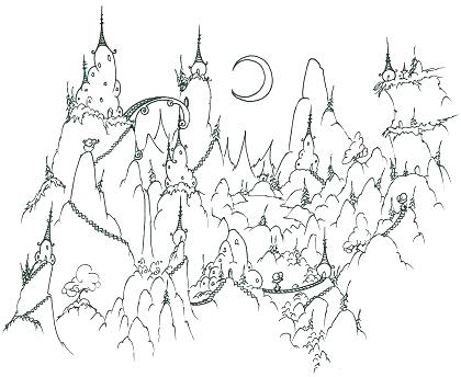 420x344 Mountains Coloring Page Coloring Page A Monkey Village