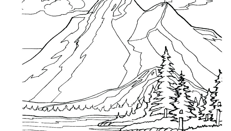 960x544 Coloring Pages Mountains Adult Coloring Page Snowy Mountains