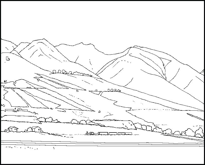808x650 Mountains Coloring Page