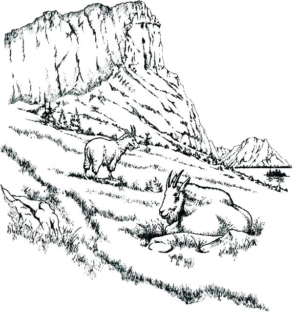 600x640 Mountains Coloring Page