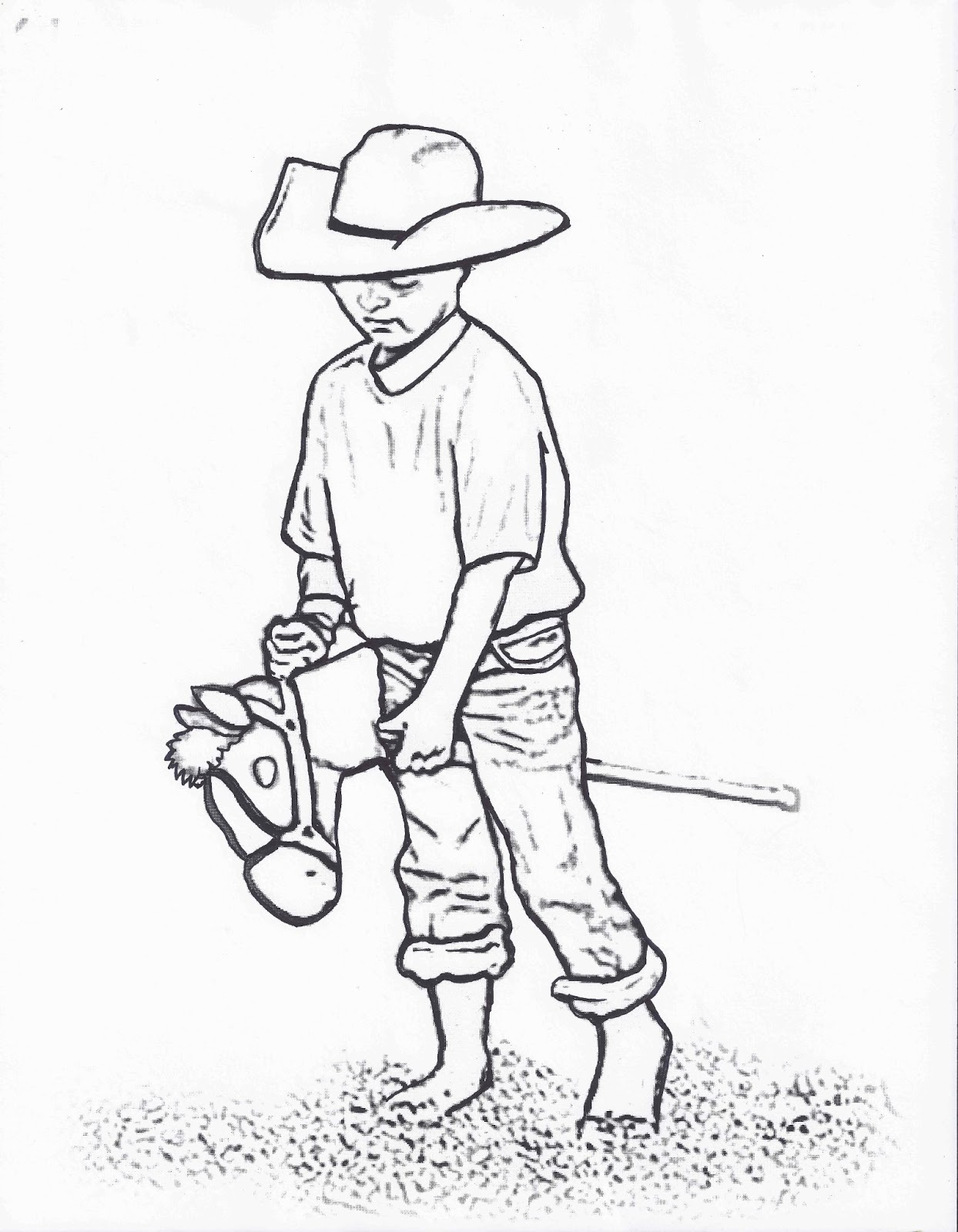 1244x1600 Rodeo Coloring Pages Little Cowboy On Stick Horse Color Page