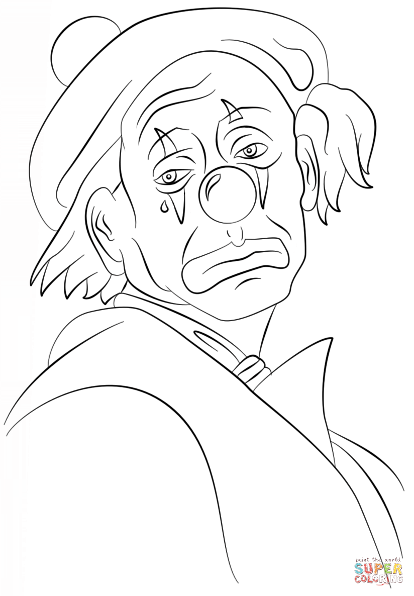 824x1186 Scary Clown Coloring Pages Page Adult Circus For Preschool Rodeo
