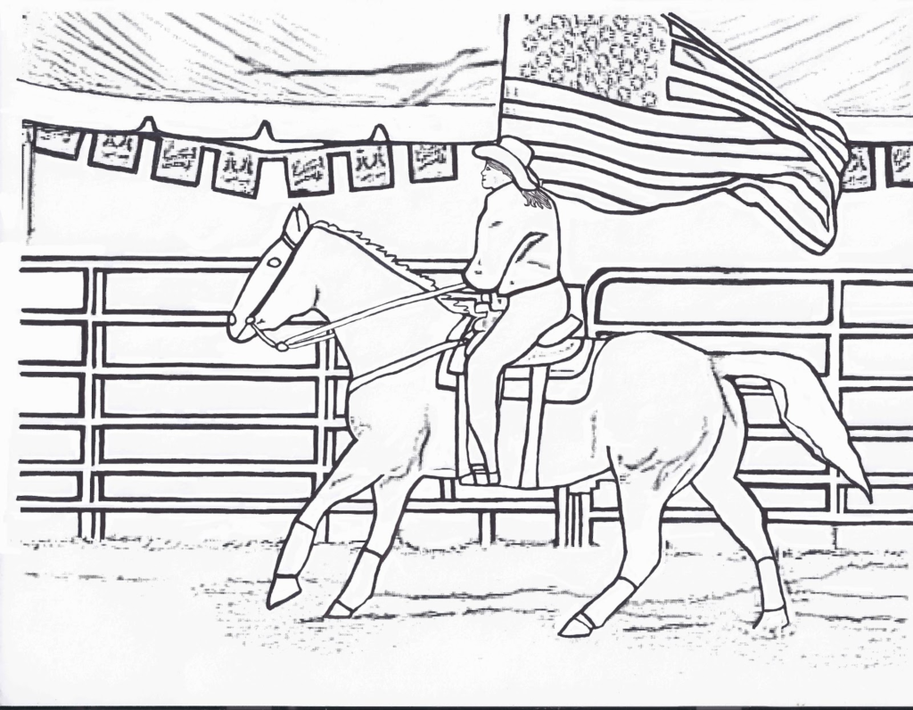 1024x796 Rodeo Coloring Pages Rodeo Coloring Pages Flag Girl Color Page