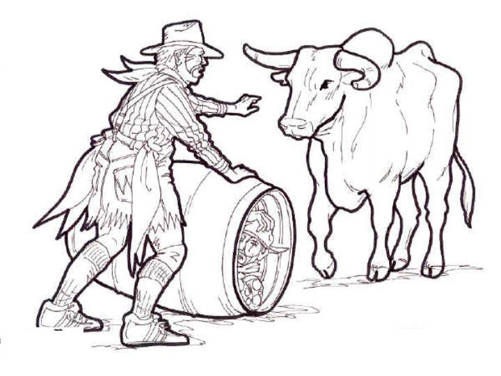 720x540 Rodeo Clown With Bull Coloring Picture Color