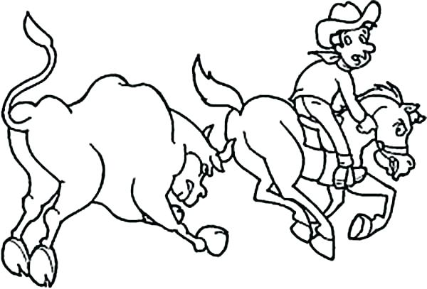 600x407 Bull Coloring Page Rodeo Coloring Pages Together With Cowboy