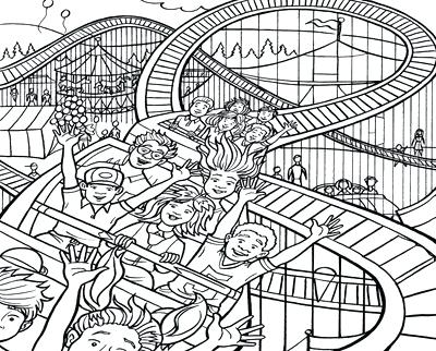400x322 Roller Coaster Coloring Pages Activities Amusements Parks Family