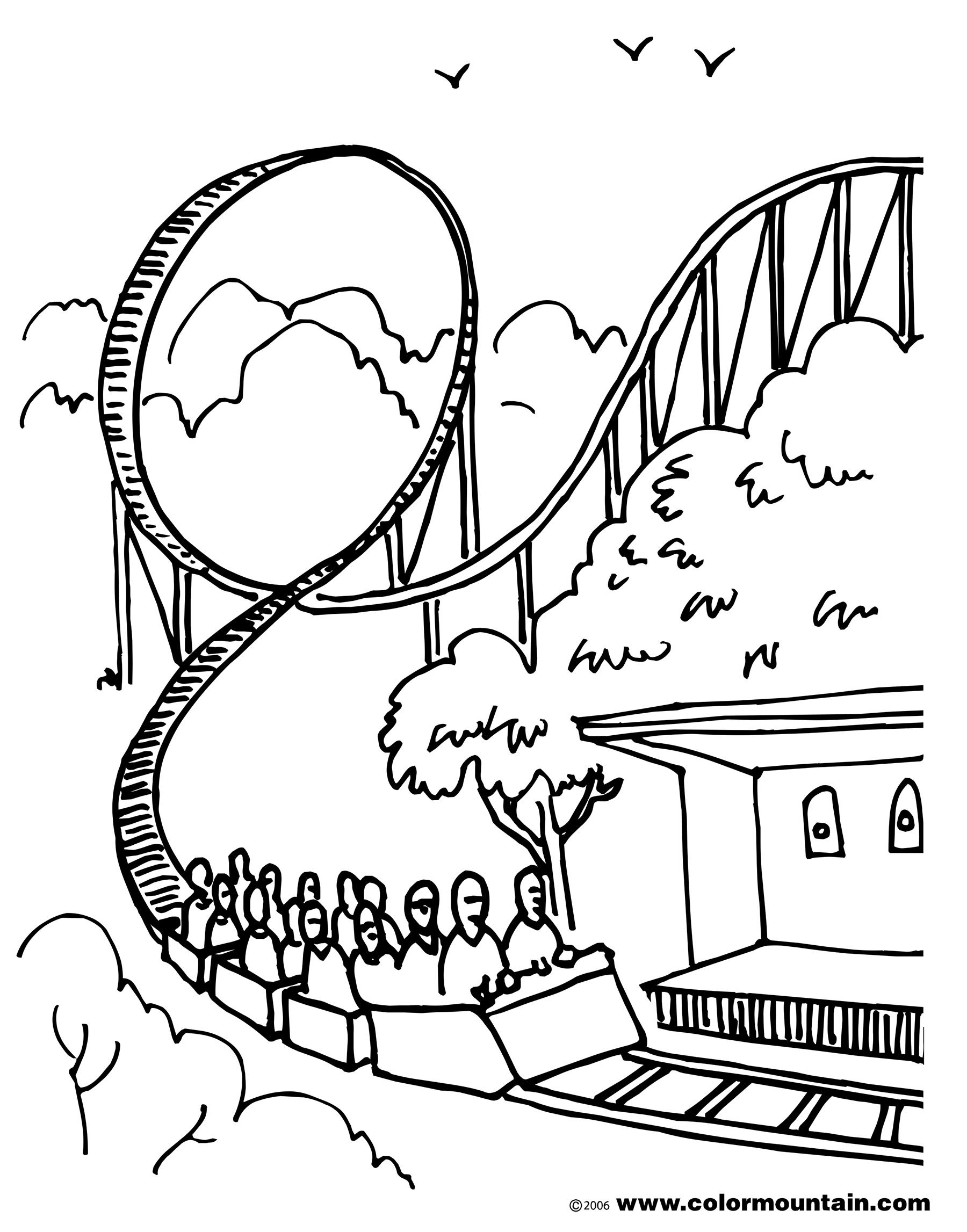 1800x2294 Roller Coaster Coloring Sheet Coloring Page Happy National