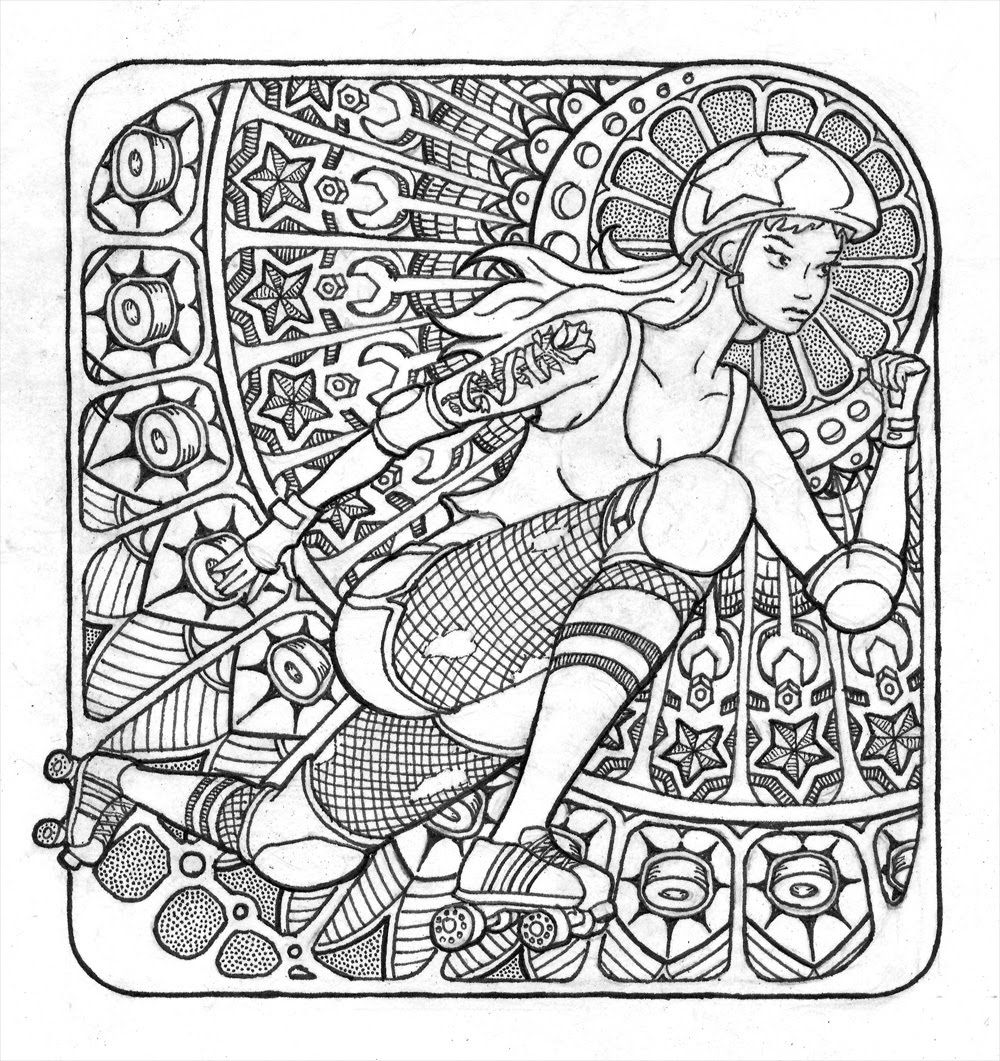 1000x1061 Roller Derby Pen Ink Drawing Like A Coloring Page For Derby