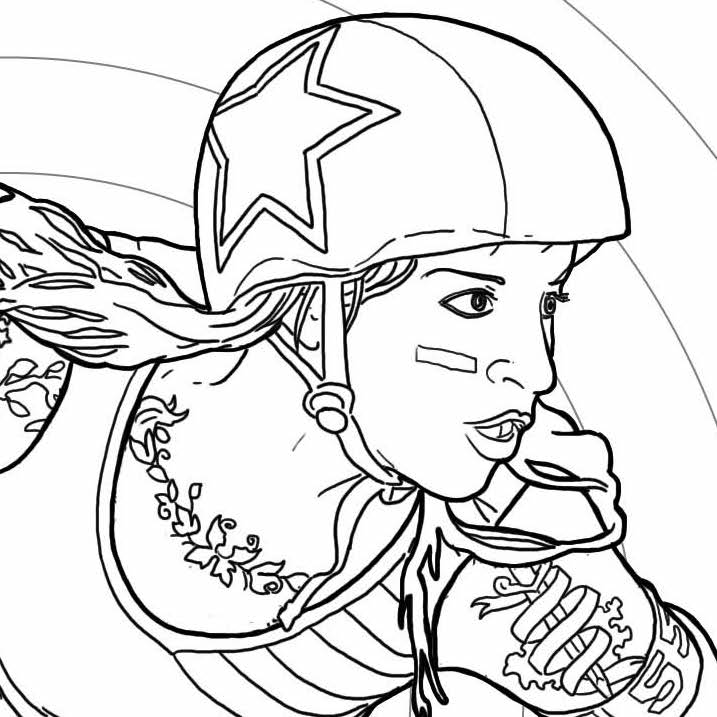 717x717 Color Jam Roller Derby Coloring Page Gutpunch Press
