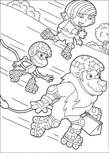 374x525 Roller Skating Dora Coloring Page Roller Skating