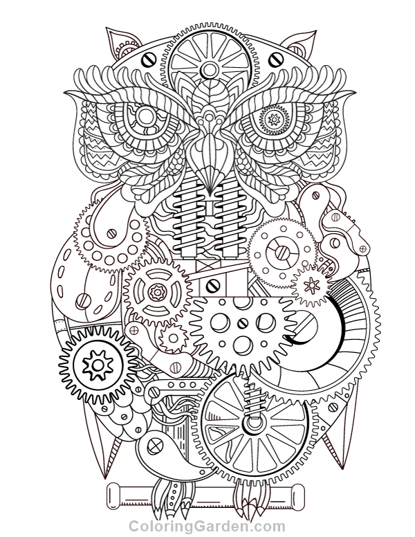 600x776 Free Printable Steampunk Owl Adult Coloring Page Download It