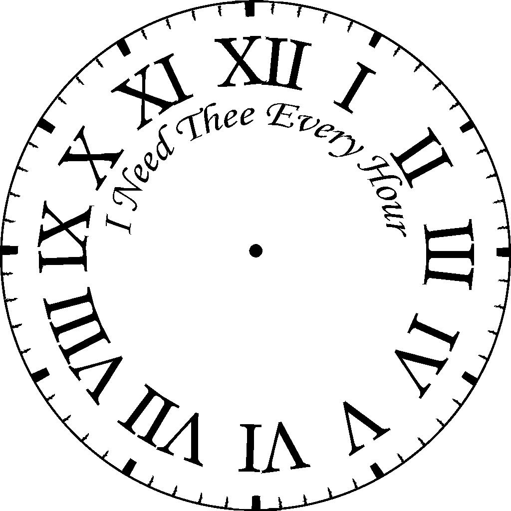 1024x1024 Clock Face Coloring Page