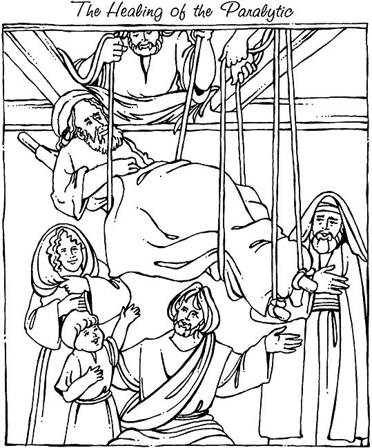 539x650 Jesus Heals The Paralytic Coloring Page Through The Roof Coloring