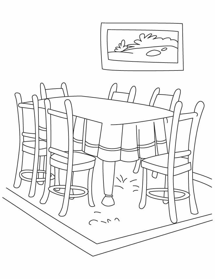 738x954 Dining Room Table Coloring Page