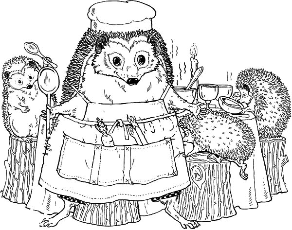 600x473 Hedgehog Family In The Dining Room Coloring Pages Coloring Sun