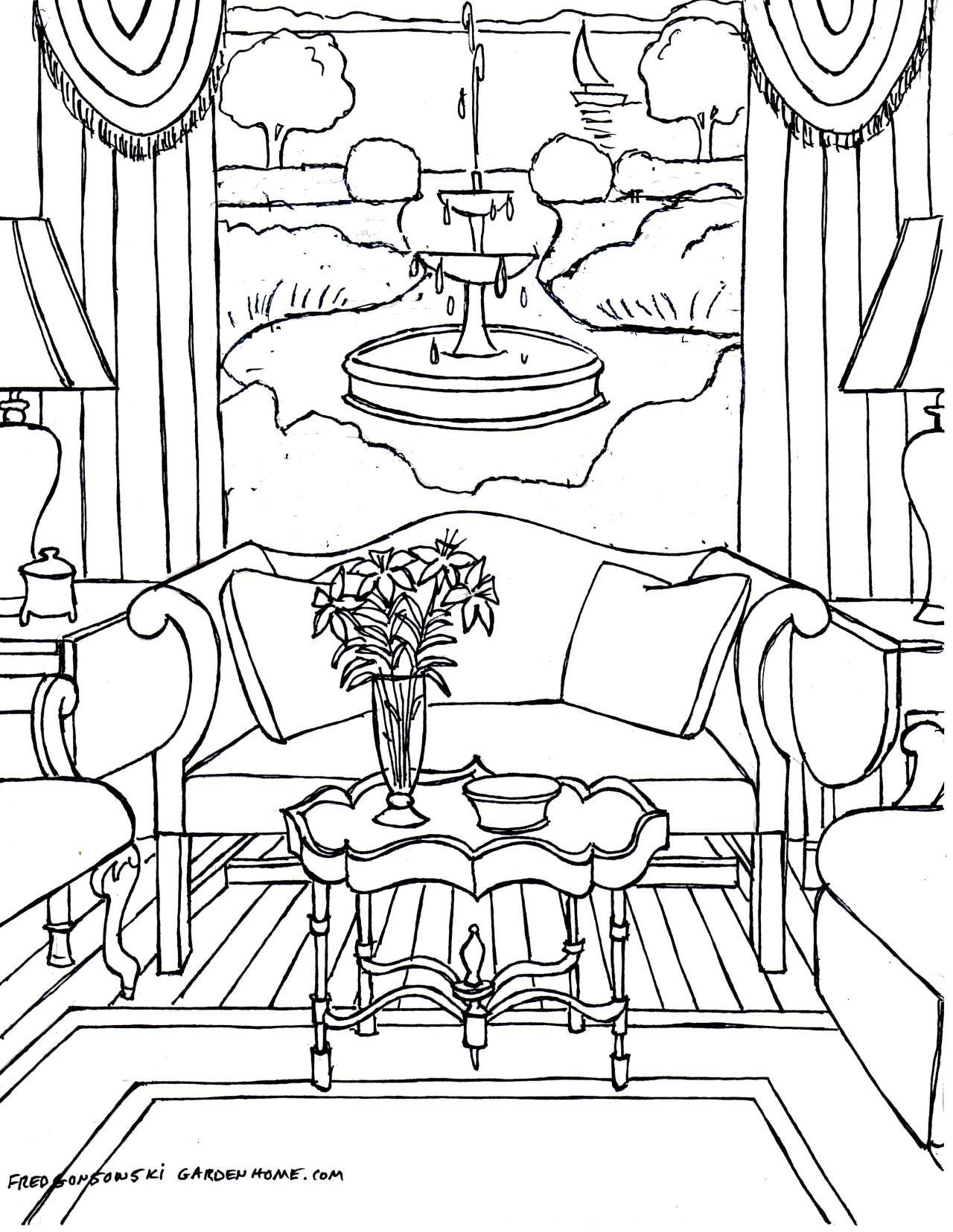 1280x1656 House Room Coloring Pages