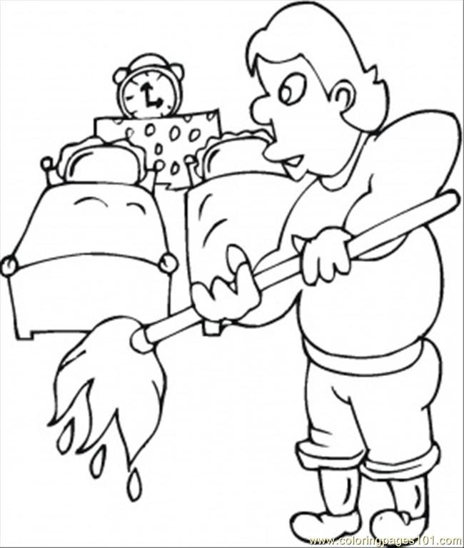 650x768 Husband Cleans The Kids Room Coloring Page