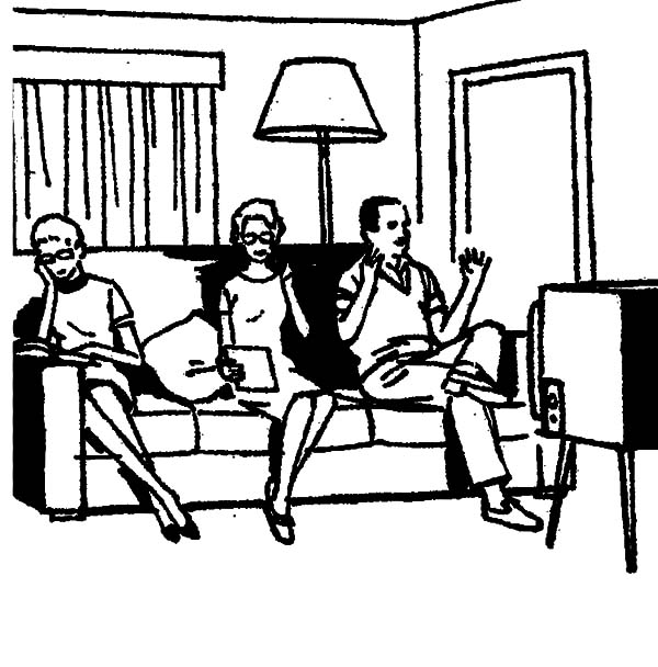 600x608 Joint Family Share Tv In Living Room Coloring Pages Batch Coloring