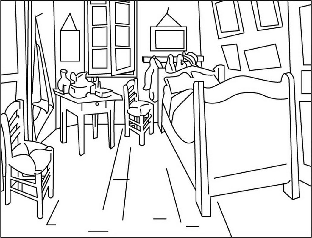 1048x798 Neoteric Van Gogh Coloring Pages Bedroom At Arles