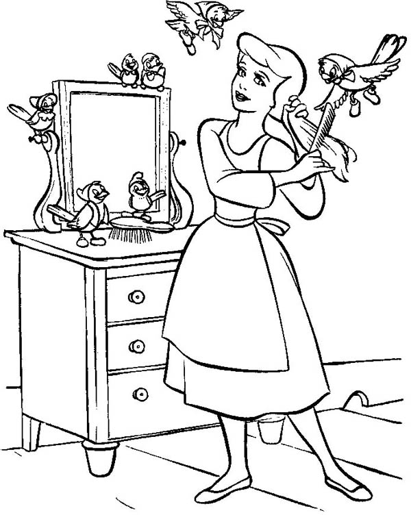 600x752 Cinderella In Her Room With Friends In Cinderella Coloring Page