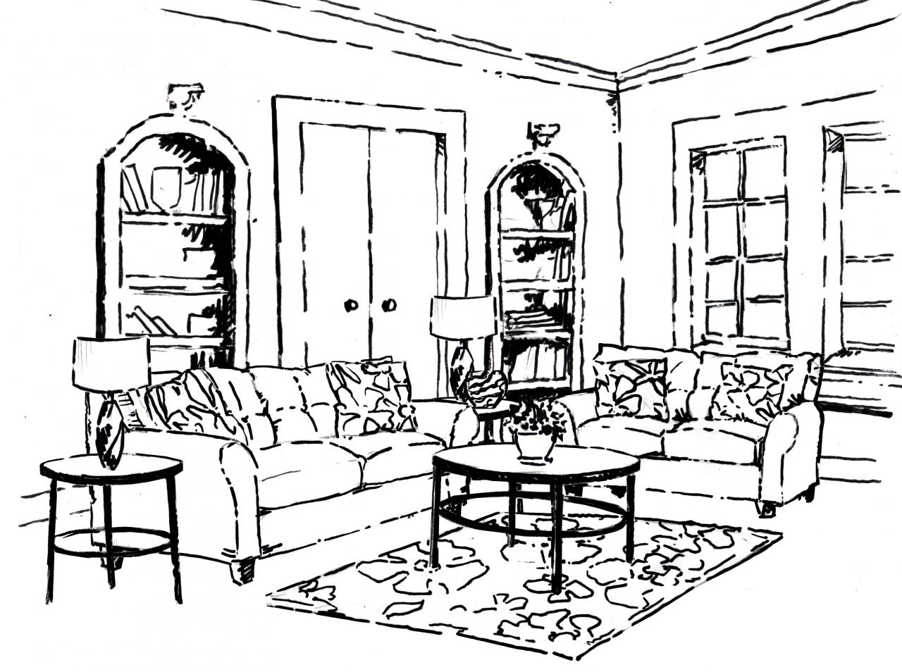 1280x954 Coloring Pages Rooms House