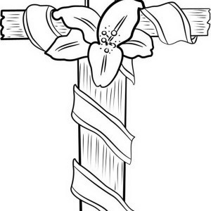 300x300 Coloring Pages Of Crosses With Roses Rose Cross