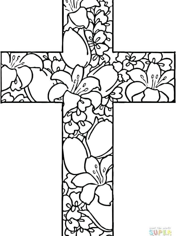 750x1000 Cross Color Page Best Rose Coloring Pages Ideas On Templates