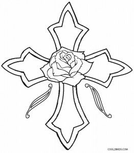 262x300 Cross With Roses Coloring Pages Embroidery Adult
