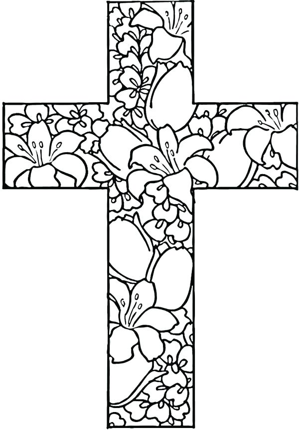 600x862 Rose Decorated Celtic Fabulous Cross Coloring Pages