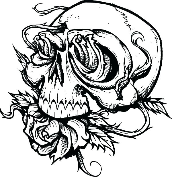 600x618 Skull Coloring Pictures Sugar Skull Roses W Cross Coloring Pages