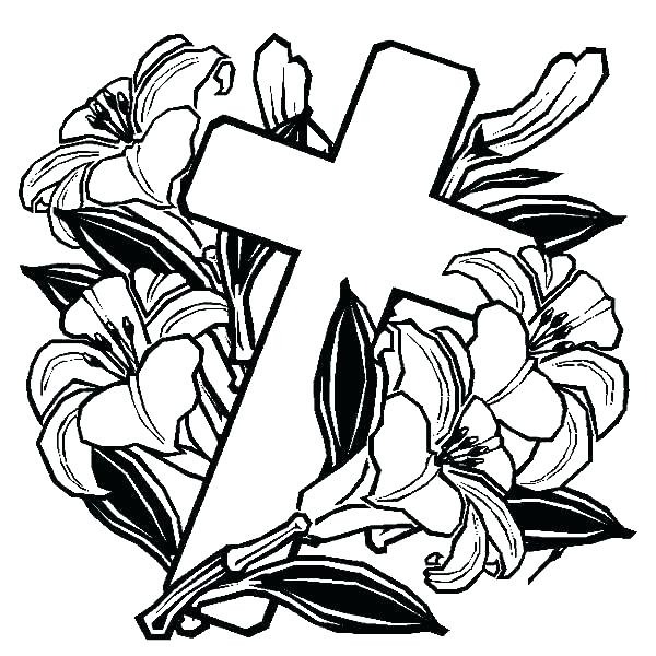 600x600 Coloring Pages Crosses Cross With Roses Coloring Pages Coloring