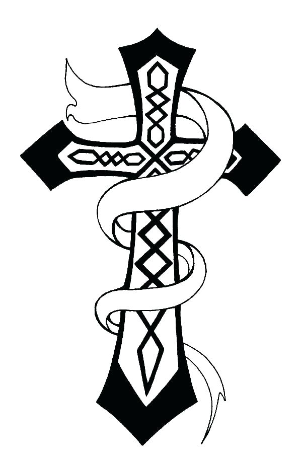 600x922 Coloring Pages Of Crosses Rose Decorated Cross Coloring Pages Best