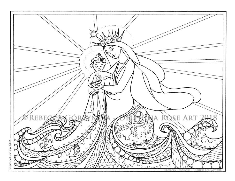 971x750 Star Of The Sea Stella Maris + Catholic Coloring Page Delphina