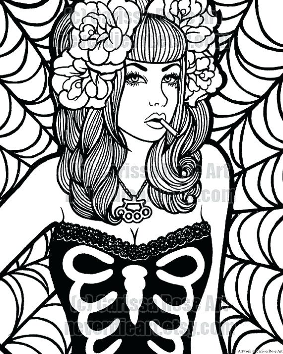 570x713 Coloring Pin Up Girl Coloring Pages With Free Printable Coloring
