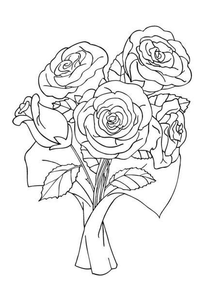 460x592 Bouquet Of Roses Coloring Pages Bunch Of Rose Bouquet Coloring