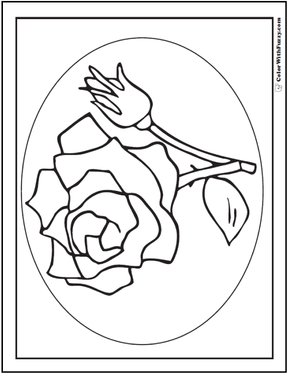 Rose Bud Coloring Pages