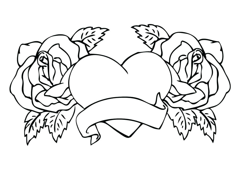 1024x744 Coloring Pages Rose Coloring Pages With Roses New And Hearts Free