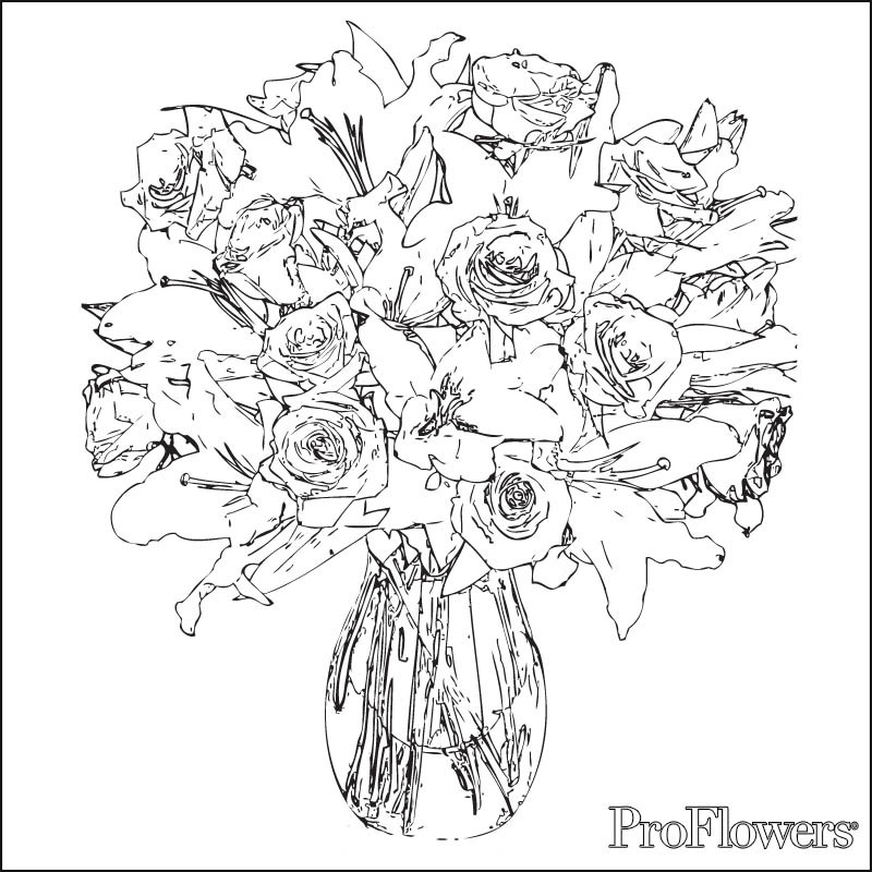 800x800 Coloring Pages Of A Bouquet Roses Copy Bunch Rose Flower